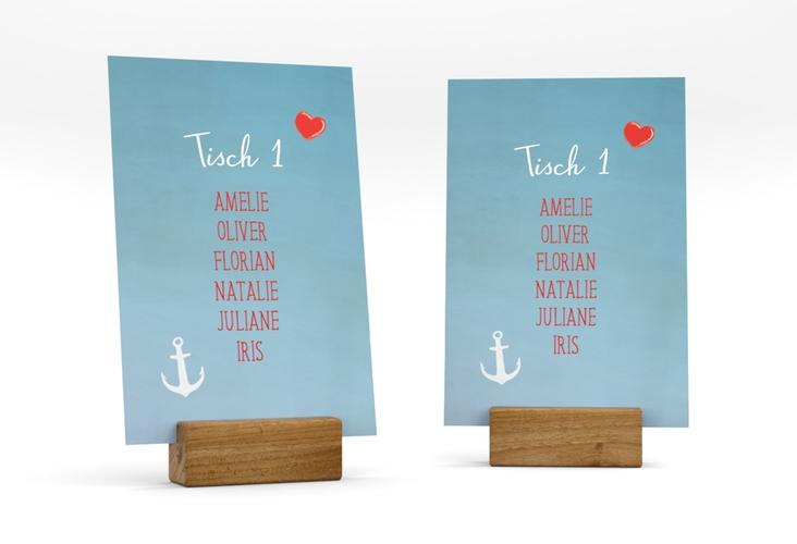 """Tischaufsteller Hochzeit """"Ehehafen"""" Tischaufsteller blau"""