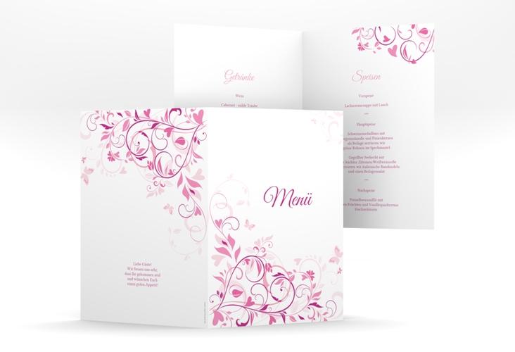 """Menükarte Hochzeit """"Lilly"""" DIN A5 geklappt pink"""