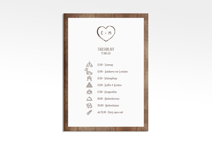 "Tagesablauf Leinwand Hochzeit ""Wood"" 50 x 70 cm Leinwand"