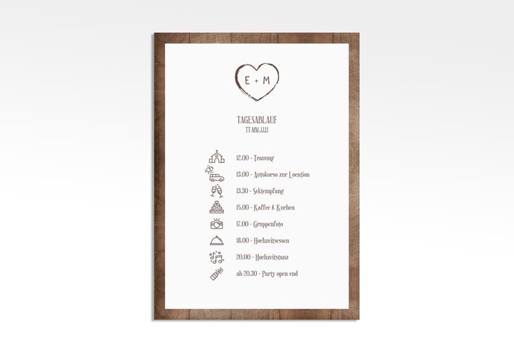 "Tagesablauf Leinwand Hochzeit ""Wood"" 50 x 70 cm Leinwand braun"