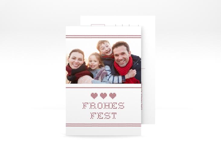 "Weihnachtskarte ""Stitch"" A6 Postkarte weiss"