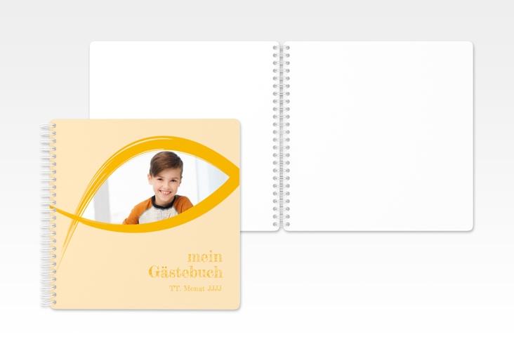 "Gästebuch Kommunion ""Credo"" Ringbindung gelb"
