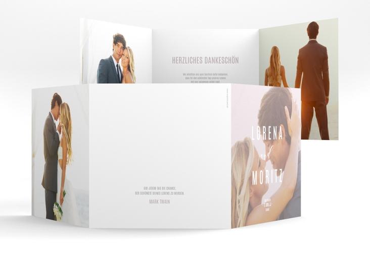 """Dankeskarte Hochzeit """"Memory"""" Quadr. Karte doppelt grau"""