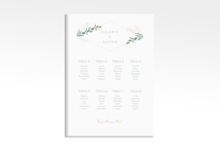 """Sitzplan Leinwand Hochzeit """"Verde"""" 50 x 70 cm Leinwand weiss"""