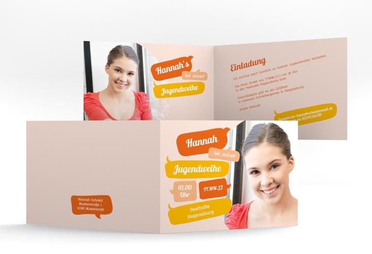 """Einladungskarte Jugendweihe """"Grownup"""" A6 Klappkarte Quer orange"""