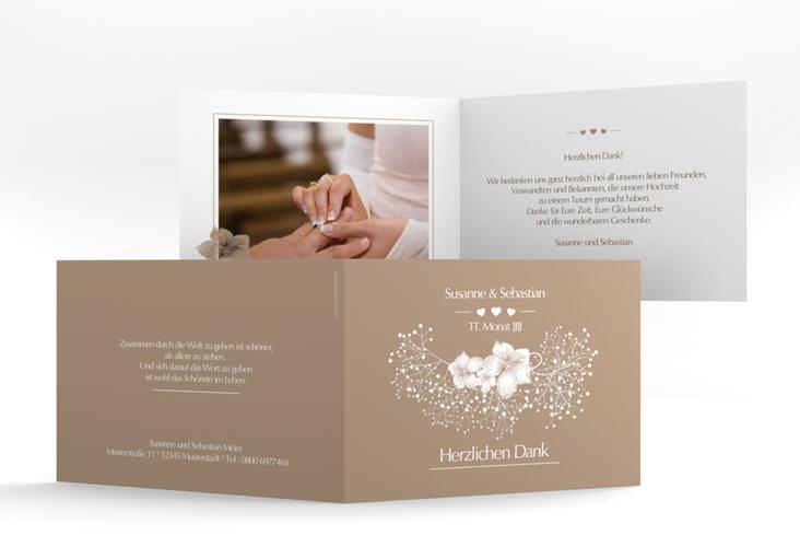 "Danksagungskarte Hochzeit ""Jena"" A6 Klappkarte Quer braun"