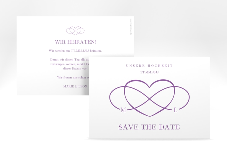 "Save the Date-Karte ""Infinity"" A6 quer lila"