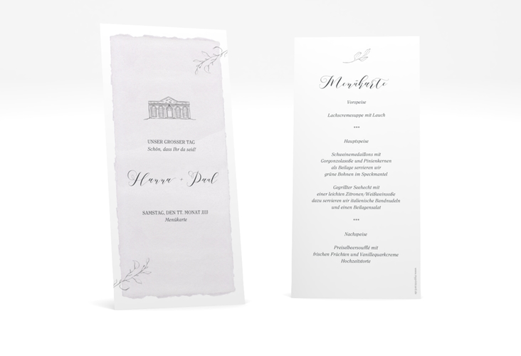 "Menükarte Hochzeit ""Villa"" DIN lang hoch"