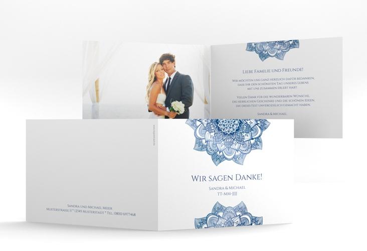 """Danksagungskarte Hochzeit """"Delight"""" A6 Klappkarte Quer blau"""