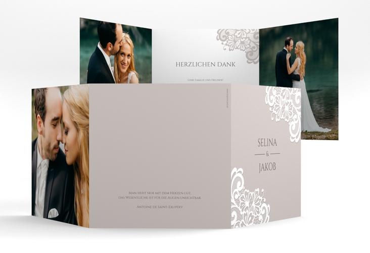 "Dankeskarte Hochzeit ""Vintage"" Quadr. Karte doppelt grau"
