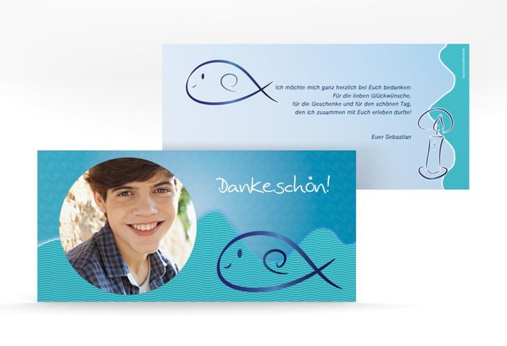 """Danksagung Konfirmation """"Fisch"""" DIN lang"""
