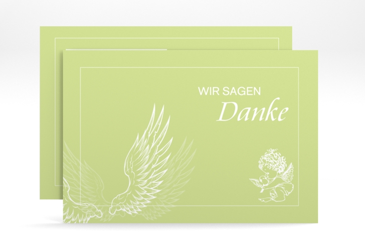 "Dankeskarte Taufe ""Angel"" A6 quer gruen"
