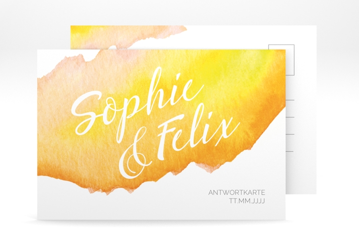 "Antwortkarte Hochzeit ""Aquarella"" A6 Postkarte gelb"