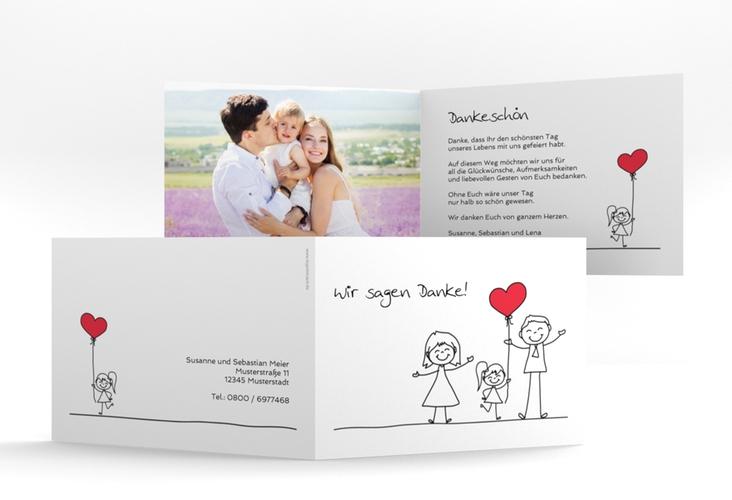 "Danksagungskarte Hochzeit ""Familia"" A6 Klappkarte Quer weiss"