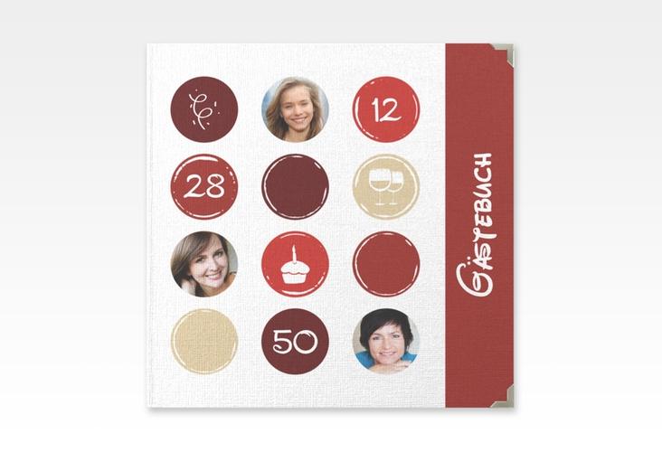 "Gästebuch Selection Geburtstag ""Circles"" Leinen-Hardcover rot"