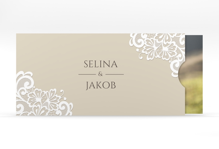 """Hochzeitseinladung """"Vintage"""" Einsteckkarte beige"""