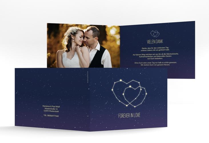 """Danksagungskarte Hochzeit """"Sternenbild"""" A6 Klappkarte Quer blau"""