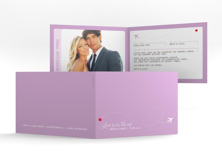 "Dankeskarte Hochzeit ""Weddingpass"" A6 Klappkarte Quer flieder"