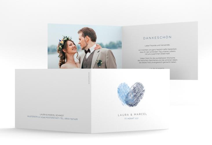 "Dankeskarte Hochzeit ""Fingerprint"" A6 Klappkarte Quer blau"