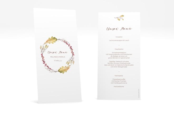 """Menükarte Hochzeit """"Herbsthochzeit"""" DIN lang hoch"""