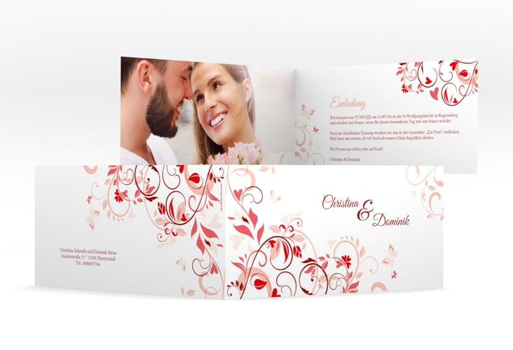 """Hochzeitseinladung """"Lilly"""" DIN lang Klappkarte rot"""