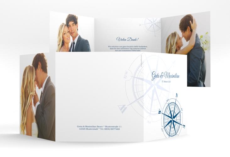 """Dankeskarte Hochzeit """"Windrose"""" Quadr. Karte doppelt blau"""