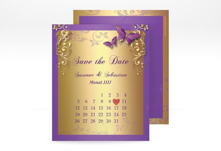 "Save the Date-Kalenderblatt ""Toulouse"" Kalenderblatt-Karte lila"