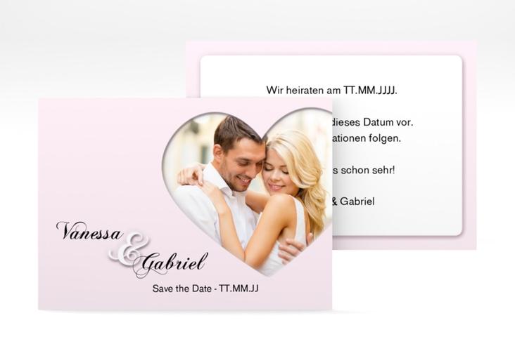 """Save the Date-Visitenkarte """"Sweetheart"""" Visitenkarte rosa"""