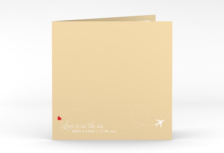 "Hochzeitseinladung ""Weddingpass"" Quadratische Klappkarte beige"