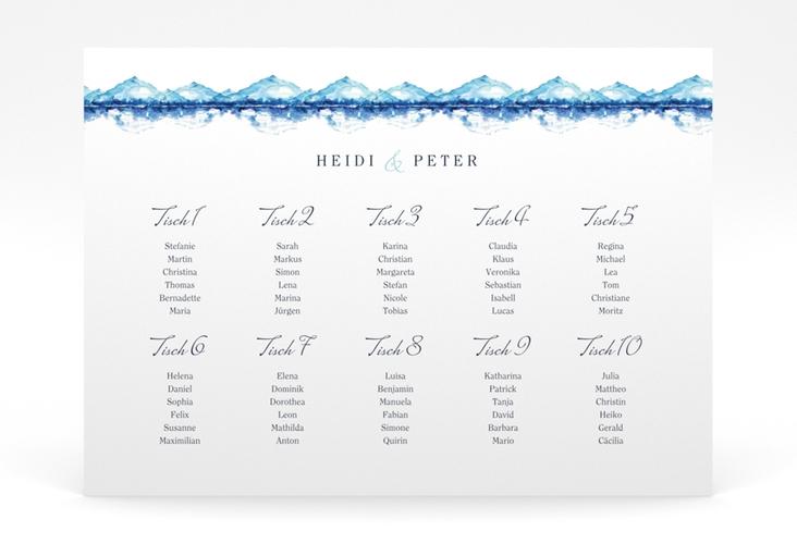 """Sitzplan Poster Hochzeit """"Bergliebe"""" 70 x 50 cm Poster blau"""