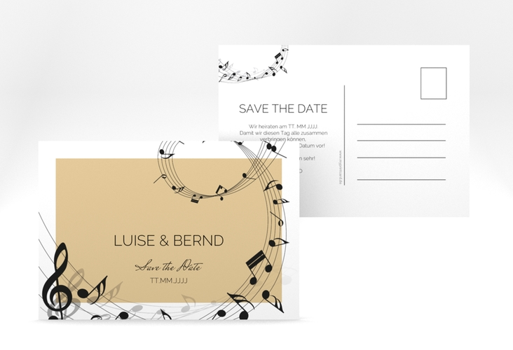 "Save the Date-Postkarte ""Melody"" A6 Postkarte beige"