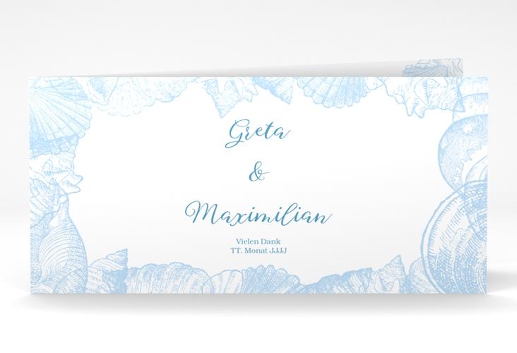 """Dankeskarte Hochzeit """"Muschelreich"""" DIN lang Klappkarte"""