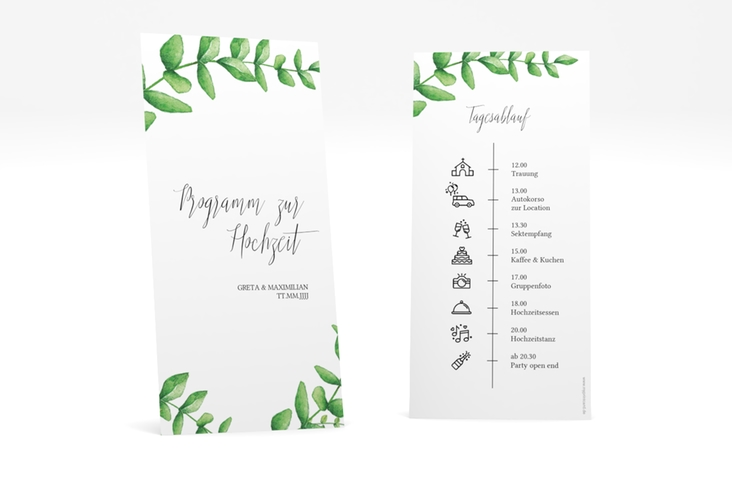 """Tagesablauf Hochzeit """"Botanic"""" DIN lang hoch"""