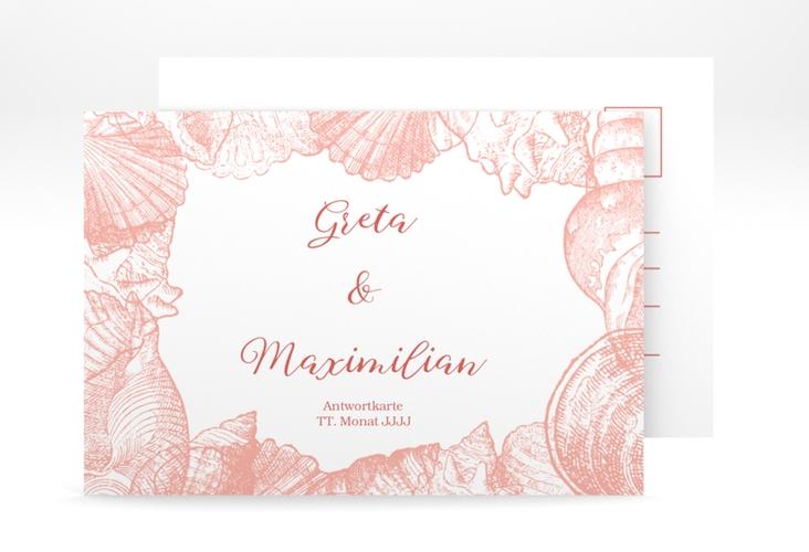 """Antwortkarte Hochzeit """"Muschelreich"""" A6 Postkarte rot"""