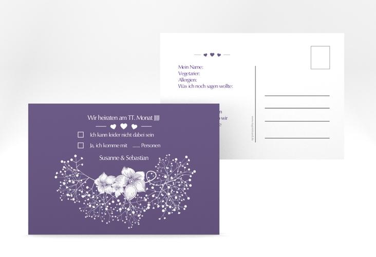 """Antwortkarte Hochzeit """"Jena"""" A6 Postkarte lila"""