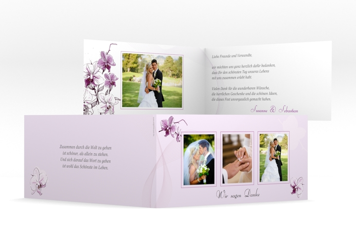 "Dankeskarte Hochzeit ""Modena"" DIN lang Klappkarte lila"