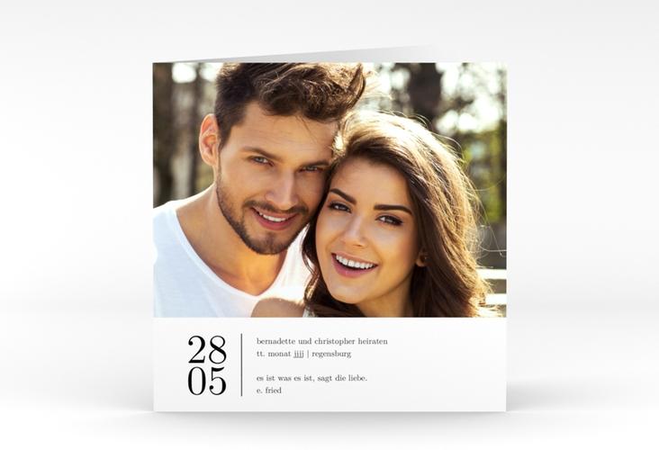 """Hochzeitseinladung """"Minimal"""" Quadratische Klappkarte weiss"""