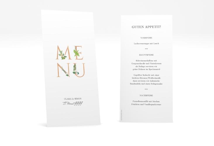 """Menükarte Hochzeit """"Greens"""" DIN lang hoch gold"""