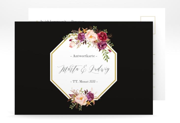 """Antwortkarte Hochzeit """"Prachtvoll"""" A6 Postkarte schwarz"""