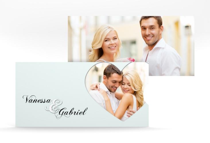 """Hochzeitseinladung """"Sweetheart"""" Einsteckkarte tuerkis"""