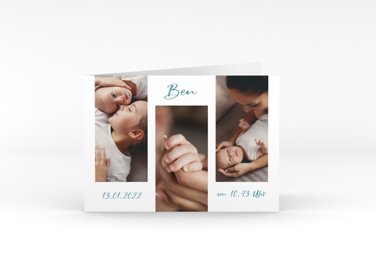 "Geburtskarte ""Lebenswunder"" A6 Klappkarte Quer blau"