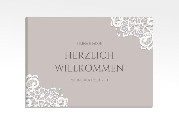 """Willkommensschild Leinwand """"Vintage"""" 70 x 50 cm Leinwand grau"""