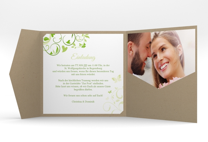 """Hochzeitseinladung """"Lilly"""" Pocketfold gruen"""