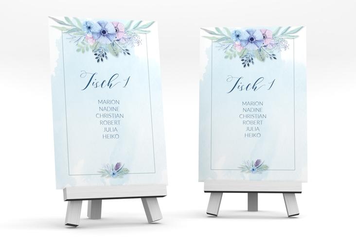 """Tischaufsteller Hochzeit """"Surfinia"""" Tischaufsteller blau"""