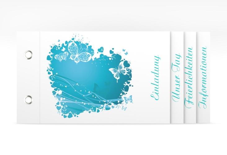 """Hochzeitseinladung """"Mailand"""" Booklet tuerkis"""