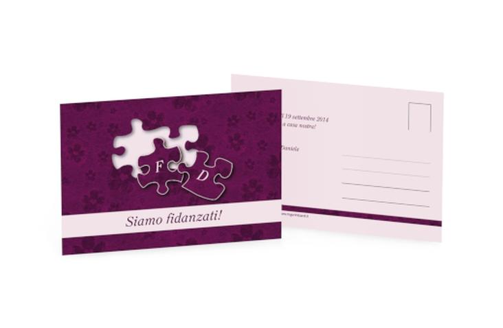 Inviti fidanzamento matrimonio collezione Bergamo A6 Postkarte fucsia