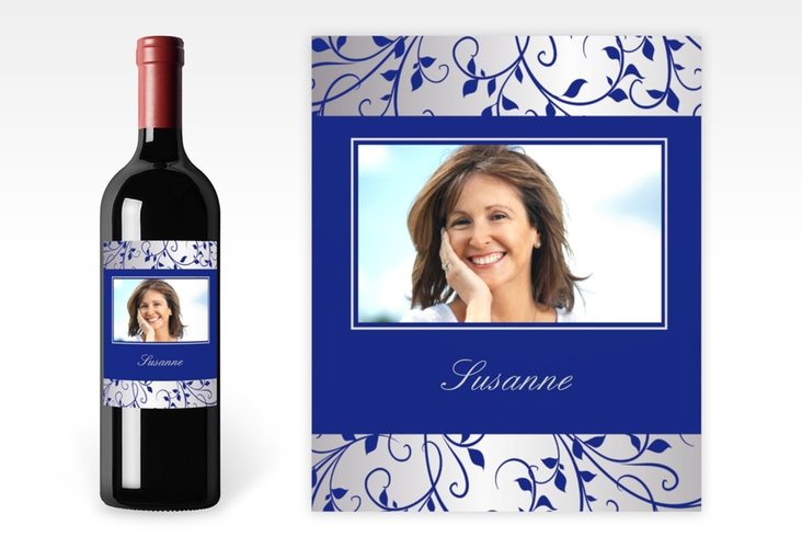 Weinflaschenetikett Ornament Blau-Silber Etikett Weinflasche 4er Set