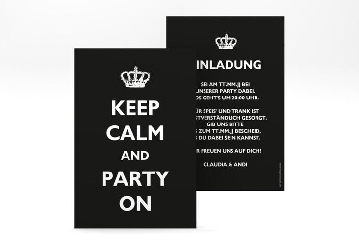 """Party Einladungskarte """"Statement"""" A6 hoch schwarz"""
