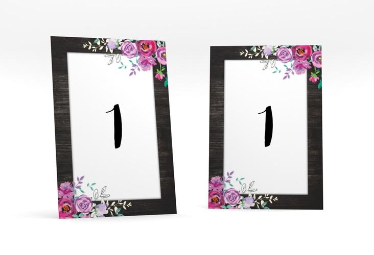 """Tischnummer Hochzeit """"Flourish"""" Tischaufsteller schwarz"""