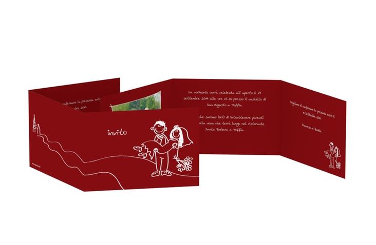 Inviti matrimonio collezione Pisa A6 doppelt geklappt rosso